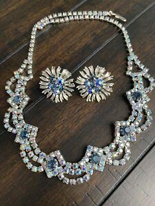 Vintage Lisner Blue Aurora Borealis Rhinestone Screw Back Earrings & Necklace