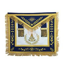Masonic Blue Lodge Past Master Gold Machine Embroidery Freemasons Apron MA032