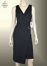 IVANKA TRUMP Women Dress Size 8 BLACK Knee CREPE Sleeveless Dressy LBCUSA