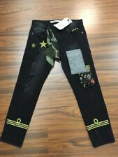 "Jeans Nero Denim Nero Con Toppe E Strappi IN SALDO tag.40 ""Superpants"" Pantaloni"