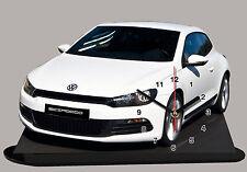 MODEL CARS, VOLKSWAGEN SCIROCCO -03, 11,8x 7,8 inches  aluminium with Clock
