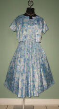 SWEET! Vtg 50s L'Aiglon Watercolor Full Skirt Sleeveless DRESS w/ JACKET 12
