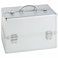 Large Silver Beauty Case Make Up Nail Professional Cosmetic Vanity Box