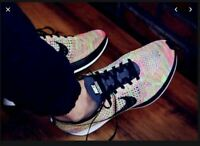 MENS 7.5 WOMENS 9 NIKE FLYKNIT RACER SHOES RAINBOW GREY MULTICOLOR 3.0 526628