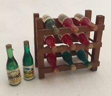 Dollhouse Miniatures 11 Wine Bottles & Rack