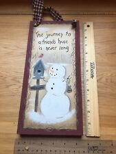 Snowman Wall Hanging Country Artwork Friend Friendship