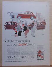 1940 magazine ad for Texaco Sky Chief gas - Gluyas Williams cartoon, flying car