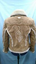 BABY PHAT BROWN SUEDE LEATHER FULL SHEARLING FUR LINED JACKET  SZ L