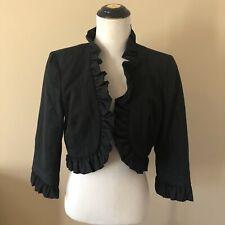 Milly Black Moire Ruffle Trim Bolero Cropped Jacket Sz 8