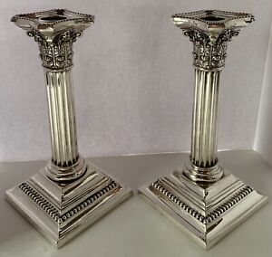 FINE NEOCLASSICAL CORINTHIAN COULMN STERLING CANDLESTICKS BY GORHAM IN 1906