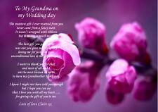 A4 personnalisé poème pour votre grand-mère/grand mère sur le jour de votre mariage pour framin