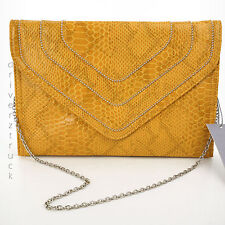 JENNIFER LOPEZ Nina YELLOW CLUTCH Faux SNAKESKIN Silver BEADS CHAIN STRAP Purse