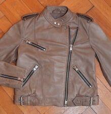 AllSaints Women's Brown ATKINSON Leather Biker Jacket UK 10