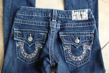 TRUE RELIGION Joey  Boot Cut Low Rise Logo Jeweled Pocket Jeans 24