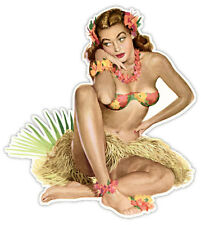"Pin-up art retro sexy pin up pinup girl Hawaii sticker decal 4"" x 4"""