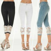 Plus Size Women Slim High Waist Skinny Denim Cropped Capri Trousers Jeans Pants