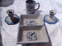 LOUISVILLE POTTERY Vintage GAGGLE OF GEESE 4 Pc DIVIDED DISH-MUG-CANDLESTICKS