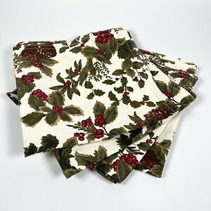 Ralph Lauren Cloth Napkins Set Of Four Holly Bush Pine Cone Christmas Pattern