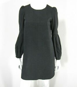 CLUB MONACO SCOOP NECKLINE LONG SLEEVE DRESS SIZE 2 SOLID BLACK WOOL BLEND