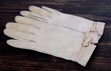 Vtg Careskin by Superb Light Beige Leather Unlined Washable Ladies Gloves Sz 6