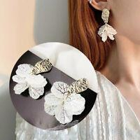 Fashion Sweet White Flower Shell Earrings Women Statement Drop Dangle Ear Stud