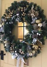 Christmas Door Wreath Luxury Quality Bauble Sprays Gold White 60cm Thick Brush
