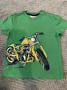 HANNA ANDERSSON Motorcycle Green Graphic T-shirt Boys 90 Sz 3 Short Sleeve