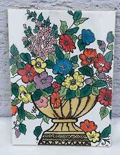Fliesenbild / handbemalte Mosaikfliesen / Keramik, Blumen Schale Motiv, 33x25cm