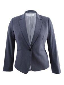 Tahari ASL Women's One-Button Jacket 14, Dark Grey/Ivory