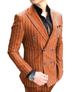Mens Suit 2Piece Business Striped Double Breasted Jacket Prom Tuxedo Blazer+Pant