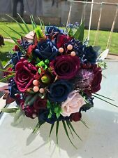 XL Bridal Posy Bouquet in Navy Blue &  Burgundy Roses With Thistles & Berries