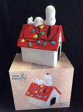 """Vintage Peanuts"" By Vandor - Snoopy Doghouse Cookie Jar w/Christmas Lights MIB"