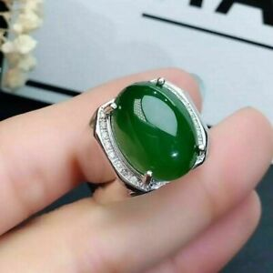 Natural Jade Gemstone With 925 Sterling Silver Ring For Men's #10