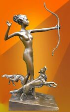 LAST ARROW NUDE BRONZE STATUE DIANA DOG SIGNED FIGURINE HOT CAST HOUND FIGURE
