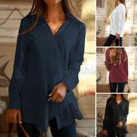 ZANZEA Women Casual Loose Solid Tops Long Sleeve V Neck Cotton Shirt Blouse Plus
