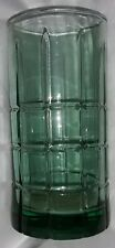 Vintage Tumbler Glass Tartan Emerald Green Heavy Plaid 16 oz ANCHOR HOCKING