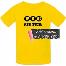 Kids Sibling T-shirt 100% Cotton Big Little Brother Sister Trouble or Your Text