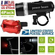 4 Pack Bike Bicycle Waterproof Front Lamp 5Led Head Light Safety Rear Flashlight