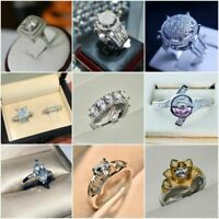 Classic 925 Silver Cut White Sapphire Engagement Chic Ring Bridal Jewelry Gifts