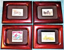 Lot of 4 Harley-Davidson Postage Stamps w/ Motorcycles INDIVIDUALLY FRAMED