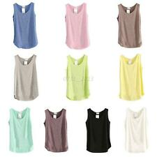 Women Summer Loose Bamboo Cotton Vest Tank T-Shirt Casual Sleeveless Blouse Tops