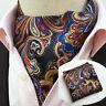 LJT13-02 Colorful Floral Paisley Men Silk Cravat Ascot Tie Set Handkerchief TIES