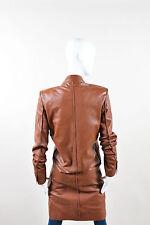 Jean Paul Gaultier Femme Brown Leather Double Breasted Long Sleeve Coat SZ 6