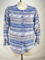 Cabin Creek Blue Leaf Long Sleeve Button Front Top Womens Size Medium 8 10