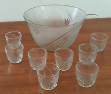 Vintage 80s ANCHOR HOCKING 10 Piece JUBILEE CLEAR GLASS PUNCH BOWL SET w Box
