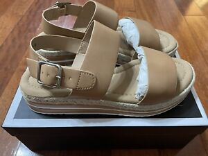 Novo BETTA Tan Brown Strappy Sandals Shoes Low Heel Wedges - New In Box- Size 8