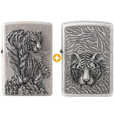 Zippo Two Types Tiger Lighters Genuine 1+1 Org Packing 6 Flints 2 sets Free GIFT