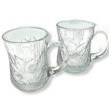2 Arcoroc Mugs France Canterbury Crocus 10 oz Hot Cold Cups Glasses Floral