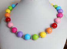AUFFALLENDE Kette aus Kugel Perlen 14 mm in Regenbogen Farben Bunt