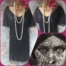 South molto Nero Perline Deco 20 S Gatsby Flapper Vestito Da Sera Tunica Top 18 46